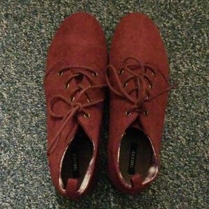 F21 Red Suede Ankle Boots
